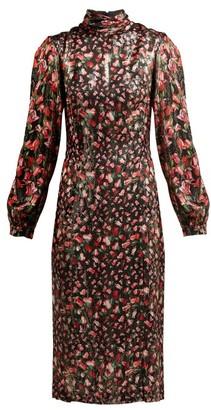 Raquel Diniz - Elle Floral Print Silk Midi Dress - Womens - Black Red
