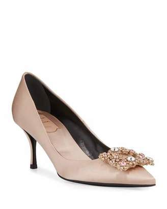 Roger Vivier Flower Strass Satin Pumps, Champagne