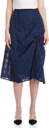 Demoo Parkchoonmoo Ruched Plaid Midi Skirt