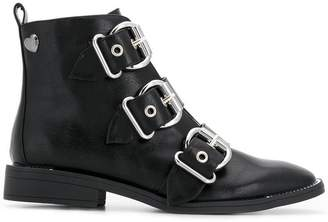 Twin-Set triple buckle ankle boots