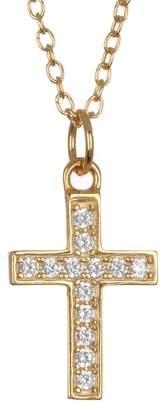 Argentovivo 18K Gold Plated Sterling Silver Pave CZ Cross Pendant Necklace