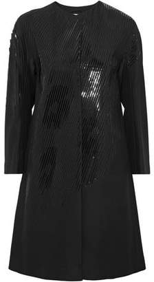 Jil Sander Patent Leather-Trimmed Twill Coat