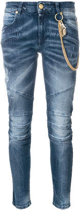 Pierre Balmain biker jeans with hanging chains
