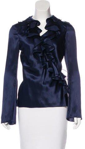 Christian Dior Silk Long Sleeve Blouse