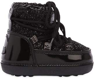 Chiara Ferragni Glitter & Faux Patent Snow Boots