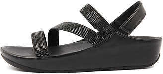 FitFlop Crystall z strap sandal Black Sandals Womens Shoes Dress Sandals-flat Sandals