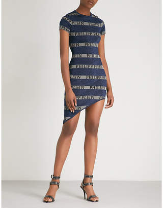 Philipp Plein Striped glittered knitted dress