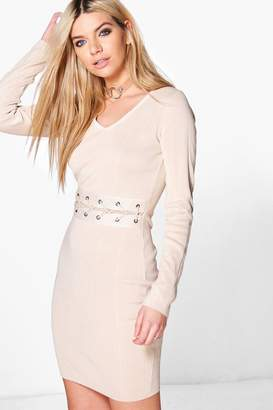 boohoo Constantina Lace Up Middle Ribbed Knit Dress