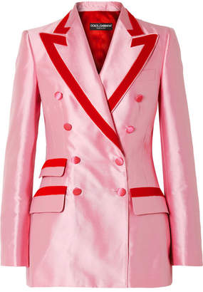 Dolce & Gabbana Two-tone Cotton-blend Faille Blazer - Baby pink