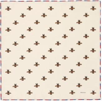 Gucci Bees print silk pocket square