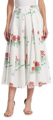 Rosie Assoulin Rose-Print Pleated Skirt
