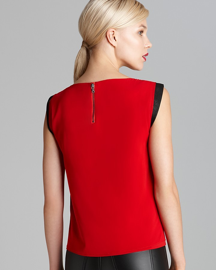 Alice + Olivia Blouse - Exclusive Mandi Leather Sleeve