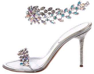 Gianmarco Lorenzi Crystal Anklet Sandals