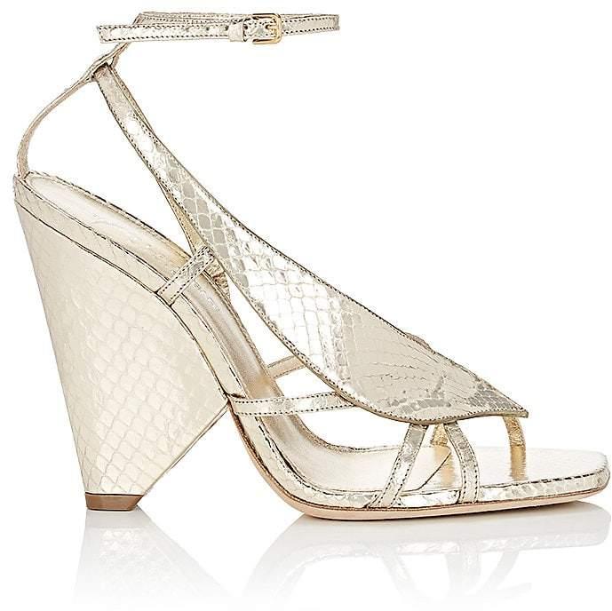 Saint Laurent Women's Triangle-Heel Stamped Leather Sandals