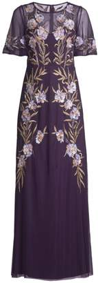 Aidan Mattox Floral Embellished Mesh Gown