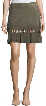 Haute Hippie Crossfire A-Line Suede Mini Skirt