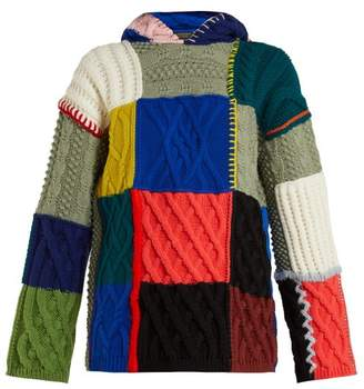 Burberry Patchwork Wool Blend Hooded Sweater - Womens - Multi