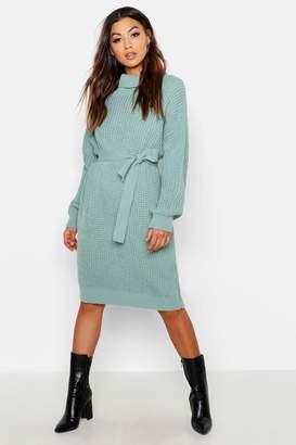 boohoo Roll Neck Chunky Belted Midi Dress