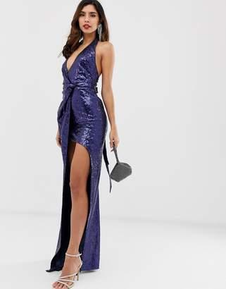 City Goddess extreme split all over sequin maxi dress