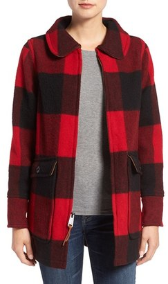 Women's Woolrich Buffalo Check Wool Blend Coat $295 thestylecure.com