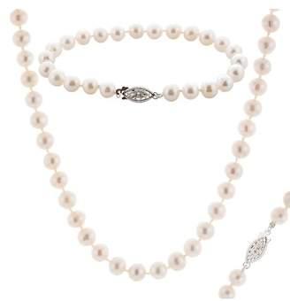 Splendid Pearls 6.5-7mm Cultured Freshwater Natural Pearl Necklace, Bracelet, & Stud Earrings Set