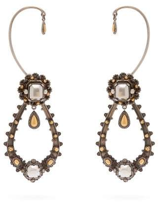 Alexander McQueen Crystal Embellished Drop Earrings - Womens - Black