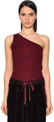 Nina Ricci One Shoulder Wool Rib Knit Top