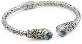 Made In Bali Sterling Silver Blue Topaz Hinged Cuff Bracelet