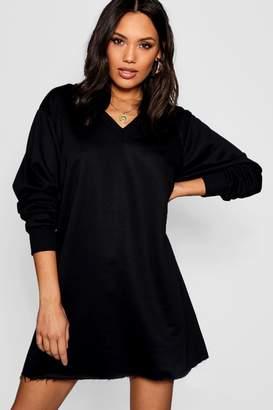 boohoo V Neck Sweatshirt Dress