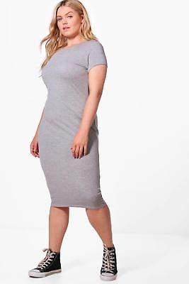 Damen Plus Veronica Midikleid mit überschnittenen Schultern in Schwarz