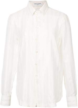 Saint Laurent embroidered sheer shirt