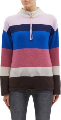 Theory Drawcord collar stripe oversized cashmere sweater