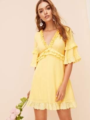 Shein High Waist Bell Sleeve Frilled Dress