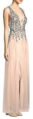 Aidan Mattox Women's Sleeveless Beaded Mesh Gown