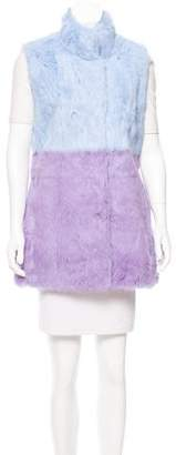 Glamour Puss Glamourpuss Colorblock Rabbit Fur Vest w/ Tags