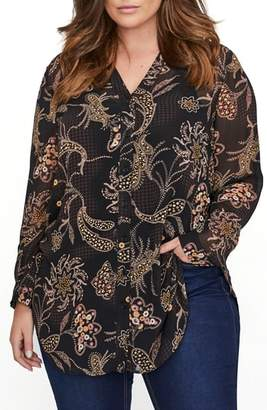 Addition Elle LOVE AND LEGEND Printed Button Down Tunic Top