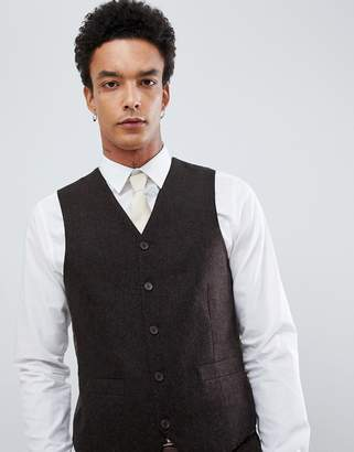 Gianni Feraud Slim Fit Brown Donnegal Wool Blend Suit vest