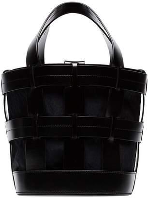 Trademark Black Cooper Leather Cage Tote Bag