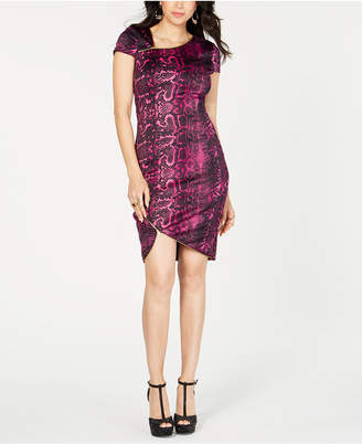 Thalia Sodi Printed Zipper-Trim Sheath Dress