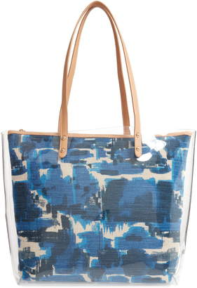 Sondra Roberts Clear Tote with Graphic Canvas Insert