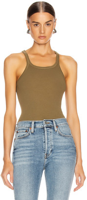 RE/DONE Ribbed Tank in Army Green | FWRD