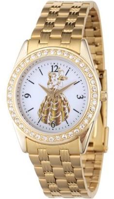Disney Princess Belle Womens' Gold Alloy Glitz Watch, Gold Stainless Steel Bracelet