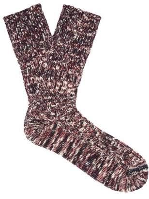 Undercover Melange Knit Cotton Blend Socks - Mens - Purple
