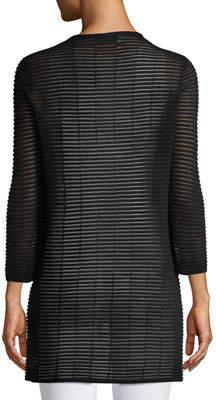 Joan Vass 3/4-Sleeve Sheer-Striped Duster Cardigan