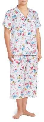 Karen Neuburger Plus Two-Piece Floral Capri Pajama Set