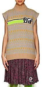 Prada Women's Logo-Knit Wool Sleeveless Turtleneck Sweater-Camel