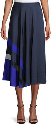 Milly Combo Pleated Stretch-Silk Skirt