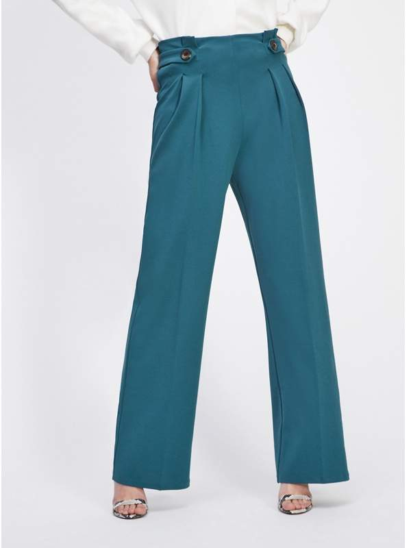 Teal Button Tab Trousers