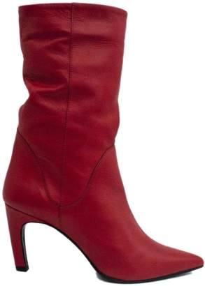 Ankle Boot In Smooth Red Leather.