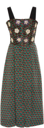 ROOPA Khidri Midi Strap Dress With Embroidered Bodice